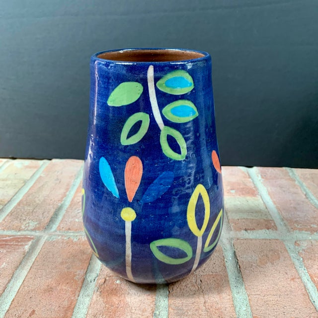Hand Painted Terra Cotta Blue Vase With Colorful Modern Flowers For Sale - Image 10 of 10