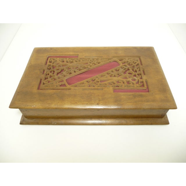 Antique Pierce Carved Wood Sewing Box - Image 2 of 6