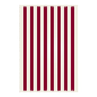 Red & White Striped Rug - 4' X 6'