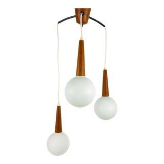 1960s Mid-Century Modern 3 Opaline Glass and Teak Cascade Pendant Lamp, Denmark For Sale