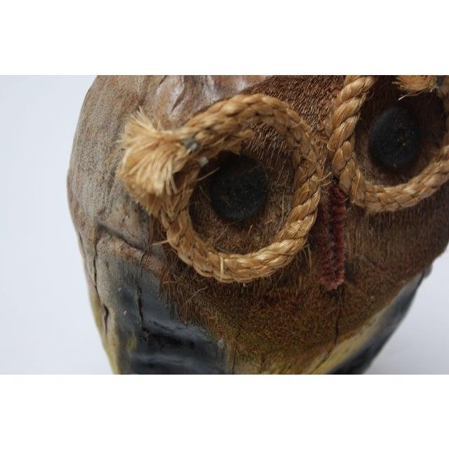 Whimsical Folk Art Coconut Owl Sculpture For Sale - Image 9 of 13