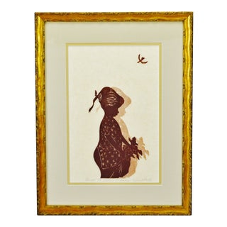 Vintage Framed Limited Edition Rosalind Smith Woodcut Etching to Gather Flowers - Artist Signed For Sale