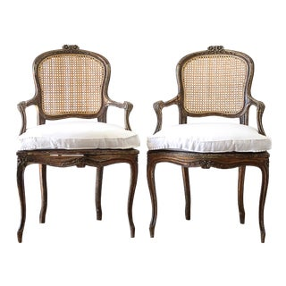 Vintage Mid Century French Cane Back Open Arm Chairs- A Pair For Sale