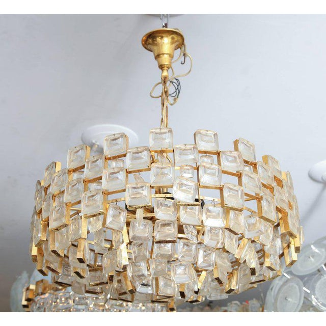 Vintage Palwa Square Glass and Brass Chandelier For Sale - Image 10 of 10