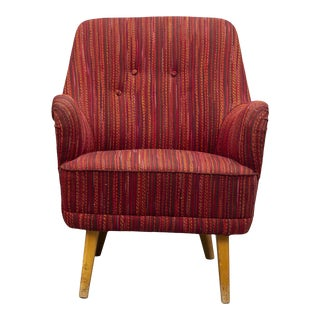 Vintage Mid Century Scandinavian Burgundy Accent Easy Slipper Chair For Sale