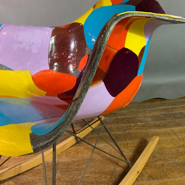 Blue 1950s Jim Oliveira for Eames Rope Edge Rocking Chair For Sale - Image 8 of 13