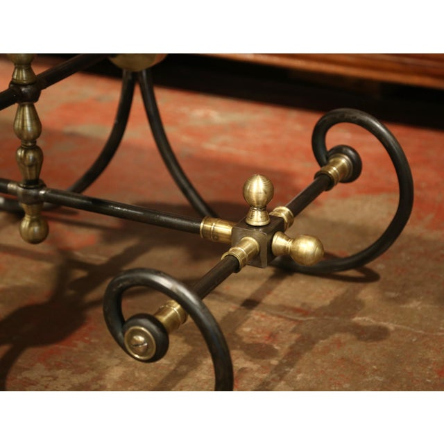 Polished French Iron Butcher or Pastry Table With Marble Top and Brass Mounts - Image 7 of 11
