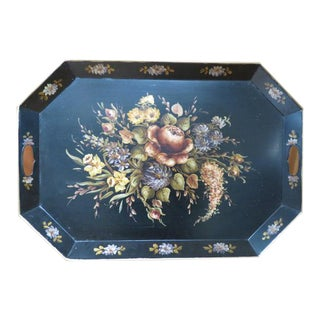 1940s Vintage Antique Hand Painted Large Tole Metal Tray For Sale