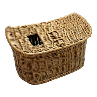 1920s Nautical Hand Woven Wicker Fly Fishing Creel For Sale