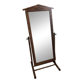 Vintage Grange Bamboo Full-Length Standing Mirror With Swivel For Sale