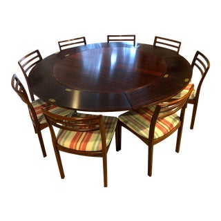 Vintage Danish Modern Dyrland Rosewood Flip-Flap Dining Table & Chairs For Sale