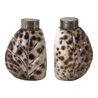 Vintage Cowrie Shell Salt & Pepper Shakers - A Pair For Sale