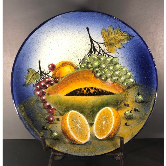 Rustic Rustic Southwestern Mexican Hand Painted Plate Fruit Decorative Blue and Yellow For Sale - Image 3 of 6