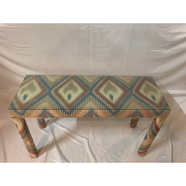 Vintage Upholstered Parsons Console Table For Sale In Miami - Image 6 of 13