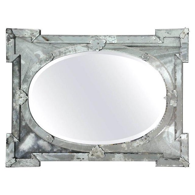 1940s 1940's Hollywood Regency Venetian Mirror With Exquisite Shield Design For Sale - Image 5 of 11