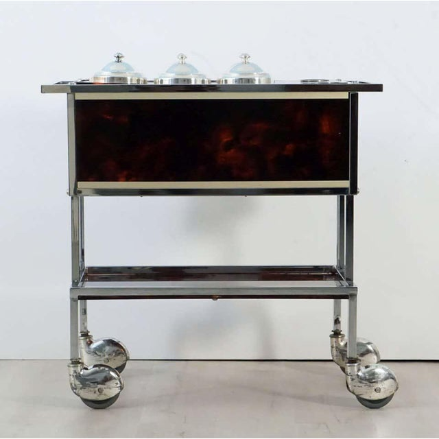 Mid 20th Century Italian Chrome and Faux Tortoise Ice Cream Cart For Sale - Image 5 of 13