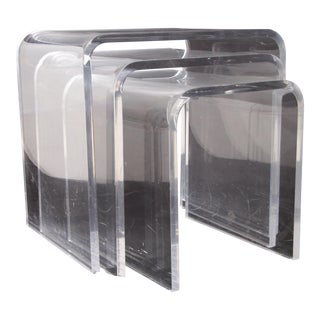 Shlomi Haziza Lucite Nesting Tables - Set of 3 For Sale