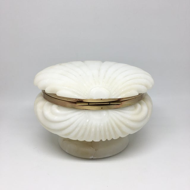 Art Deco Alabaster and Brass Shell Lidded Box For Sale - Image 3 of 12