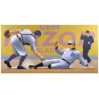 """Ty Cobb: Out at Home Plate"" Painting by Lynn Curlee For Sale"