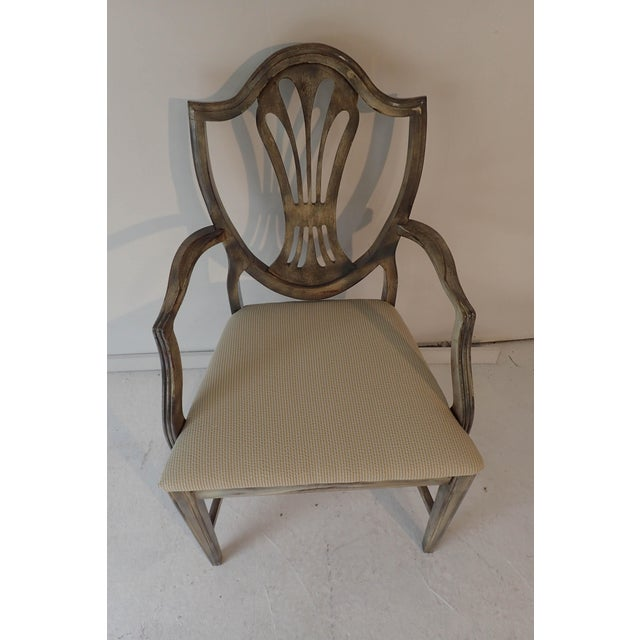 Early American Duncan Phyfe Style Side Chair Distressed Decor Finish 38.5H x 23D x 24W For Sale - Image 3 of 9