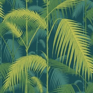 Cole & Son Palm Jungle Wallpaper Roll - Petrol/Lime For Sale