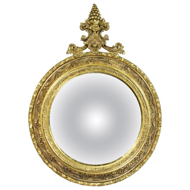 Wood Victorian Giltwood Convex Mirror For Sale - Image 7 of 7