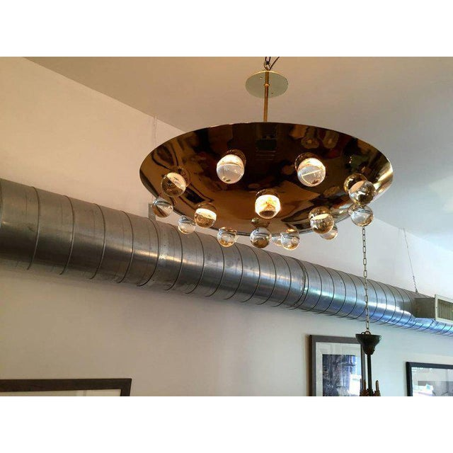 1960s 1960s Mid-Century Modern Brass Crystal Orb Pendant Lighting For Sale - Image 5 of 10