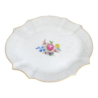 Meissen Hand Painted Dish With Raised Flowers and Bows For Sale