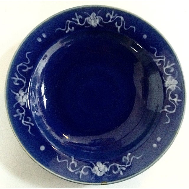 Asian Antique Chinese Blue Ground Dishes - Pair For Sale - Image 3 of 4