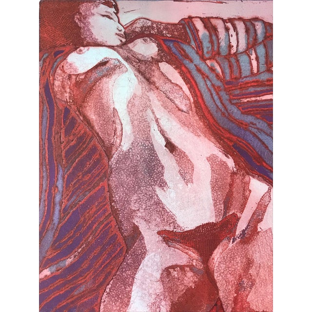"""Abstract Vintage Modernist Nude Etching """"Joseph Had a Dream"""" by Ruth Weisberg 1967 For Sale - Image 3 of 9"""