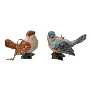 Figurative Ceramic Bird Ornaments - a Pair For Sale