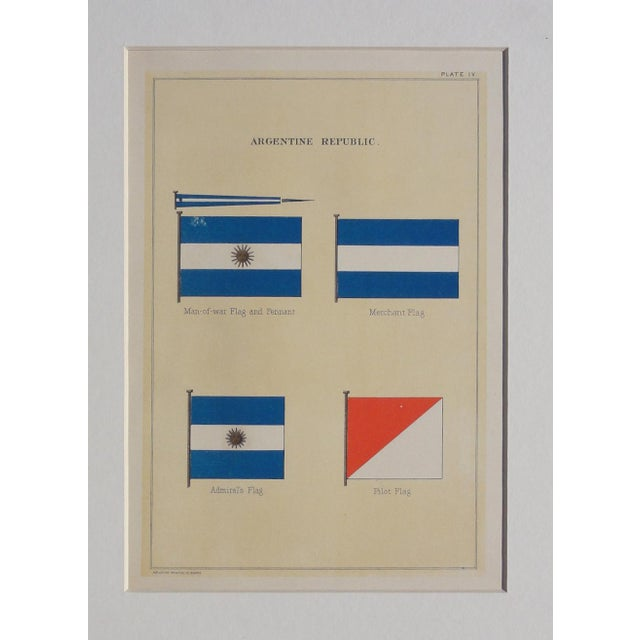 Nautical 1882 Nautical Flags of Argentina Chromolithograph For Sale - Image 3 of 5