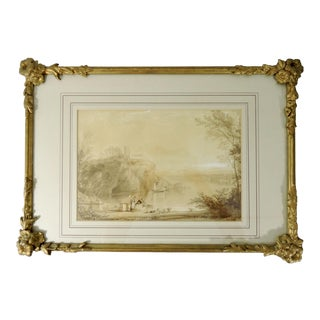 Late 19th. Century Antique English Monochrome Landscape Painting With Floral Gesso Gilt Frame For Sale