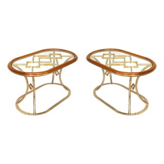 Pair of Fabulous Brass Oval Coffee Tables, by Alain Delon for Maison Jansen For Sale