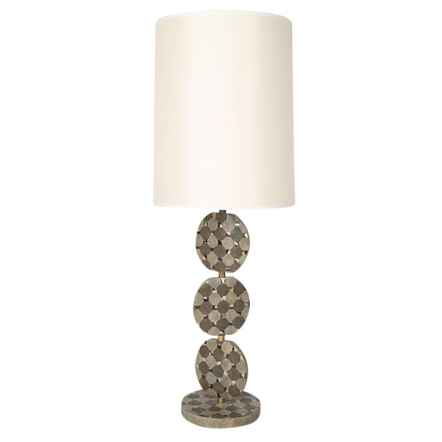 SCULPTURAL TABLE LAMP IN SHAGREEN AND HORN BY R & Y AUGOUSTI, CIRCA 1980S For Sale