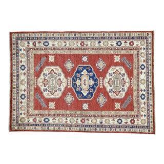 Hand-Knotted Kazak Tribal Design Rug- 4′6″ × 6′5″ For Sale