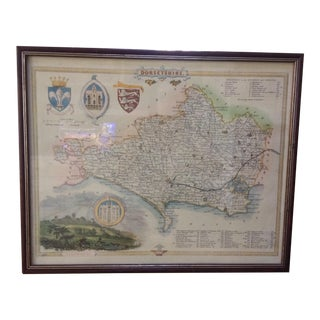 Vintage English Map, Framed For Sale