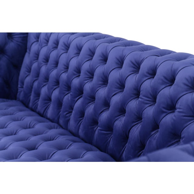 Pasargad Home Vicenza Collection Velvet Tufted Sofa, Blue For Sale - Image 4 of 9