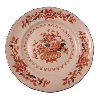 Vintage Rust & Blue Flowers in Basket Plate For Sale