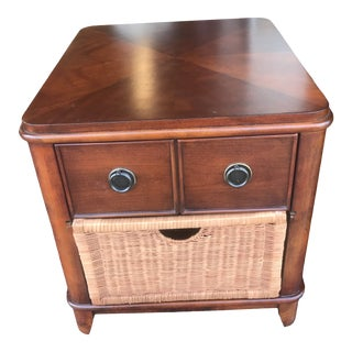 Traditional Wood Side Table With Rattan Drawer For Sale