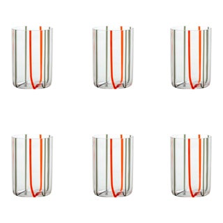 Tirache Tumbler in Red & Grey - Set of 6 For Sale