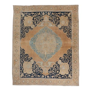 Cream and Blue Ground Tabriz Carpet For Sale