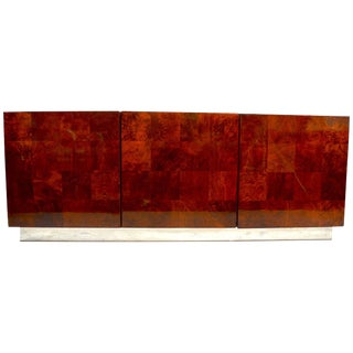 Classic Baughman Credenza, Server Sideboard With Patchwork Veneer For Sale