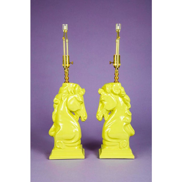 """1950's Chartreuse Horse Head or """"Knight"""" chess piece lamps. Original ceramic bodies are in pristine condition. Lamps have..."""
