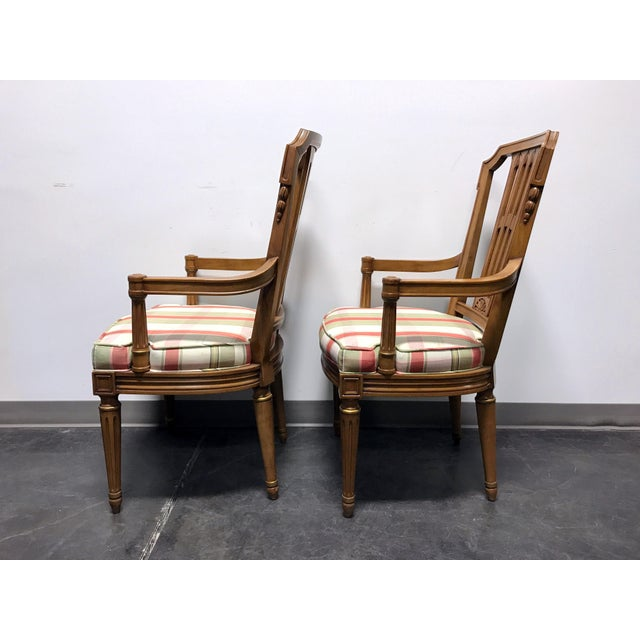 Henredon Capri Mid Century Italian Provincial Neoclassical Dining Captain's Arm Chairs - Pair For Sale - Image 9 of 13