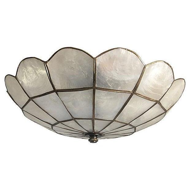 Capiz shell ceiling light chairish for Shell ceiling light fixtures