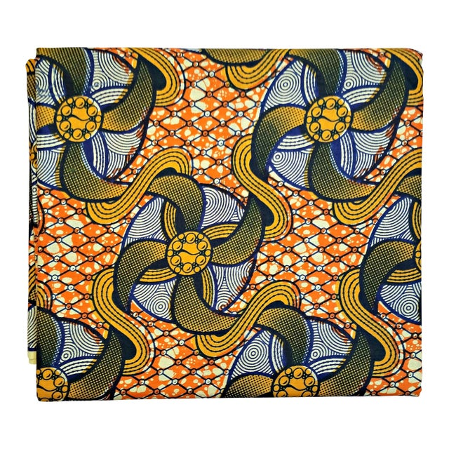 Orange African Dutch Wax Fabric - 4 Yards - Image 1 of 5
