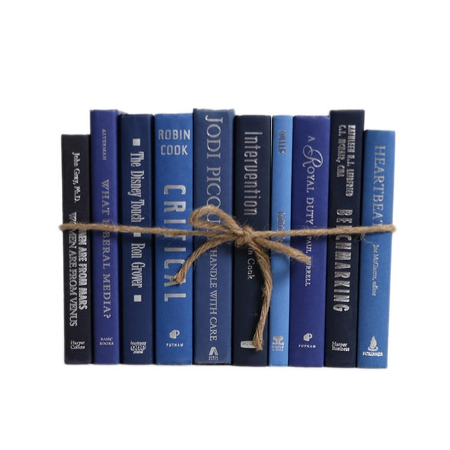 Modern Modern Denim & Silver ColorPak : Decorative Books in Shades of Blue With Silver Accents For Sale - Image 3 of 3
