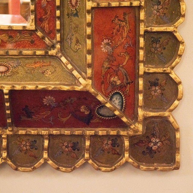Mid-Century Modern Mid-Century Modern Graphic Gilded Reverse Églomisé Hand-Painted Venetian Mirror For Sale - Image 3 of 9