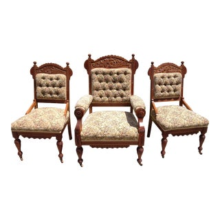 Butternut Mahogany Victorian Parlor Chairs- Set of 3 For Sale